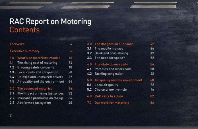 RAC motoring report 2017